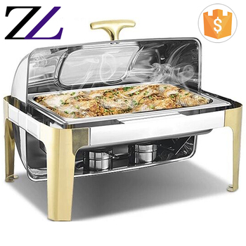 Modern catering buffet food warmer large 9l decorative fancy roll top golden alcohol burners fuel chafing dish price in dubai
