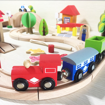 2021 Kids 69pcs Thomas train toys wooden Train Railway set toys for the Child play Educational toys WTS005