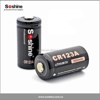 Soshine CR123A 3.0V Primary Lithium Battery, Primary battery in stock 1600mah CR123A