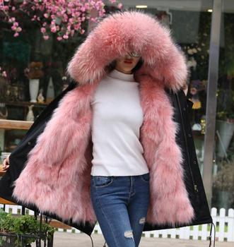 women 2020 winter hot sale pink fur coat long ladies fur waterproof parka coat