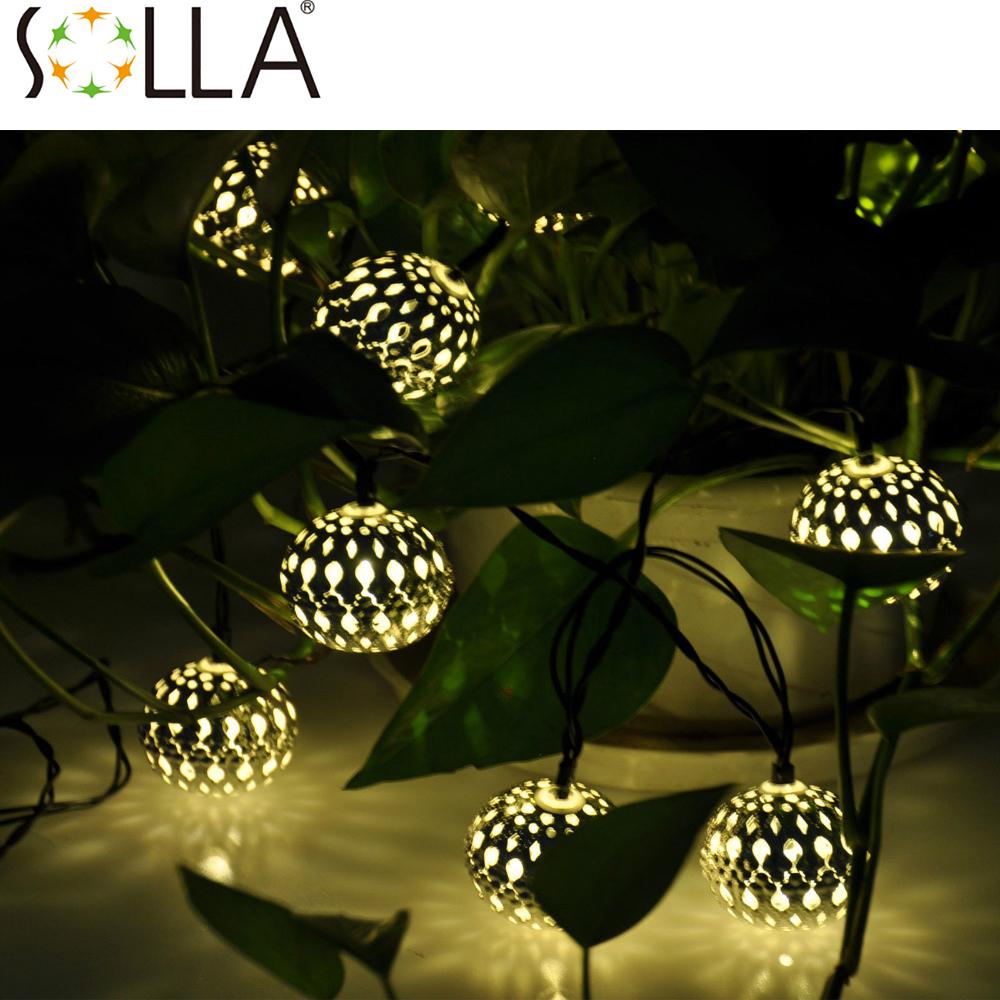 Warm White Solar Garden Fairy Lights: 2016 10LED Moroccan Solar String Lanterns Warm White LED