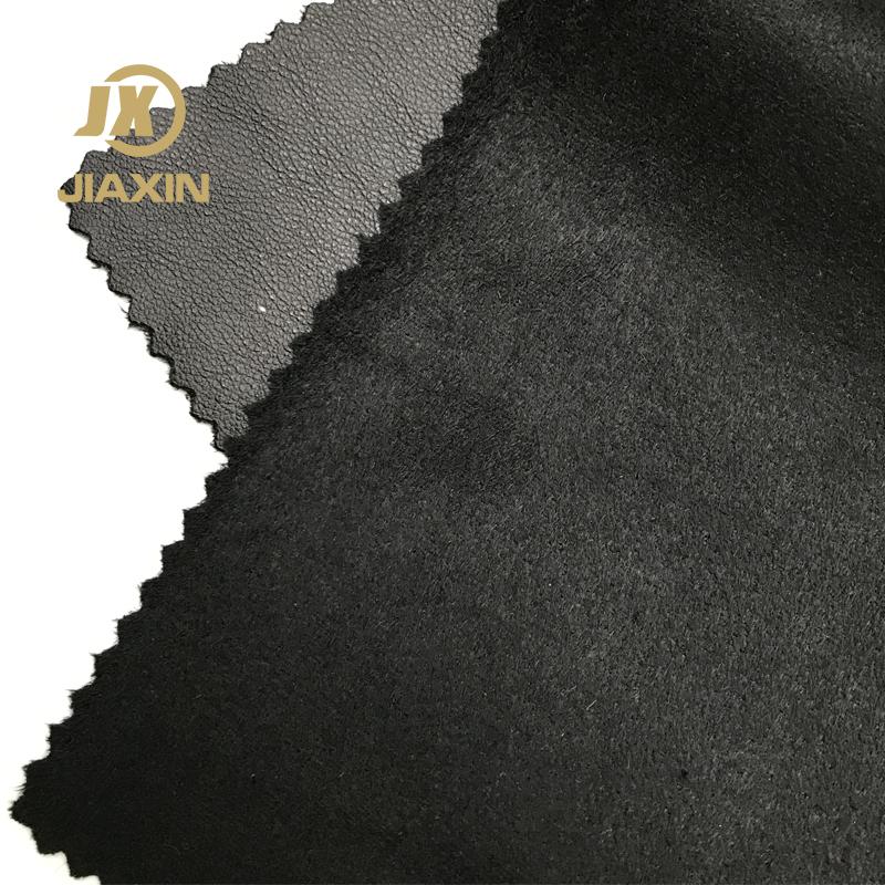 Excellent quality black vinyl polyester polyurethane leather fabric