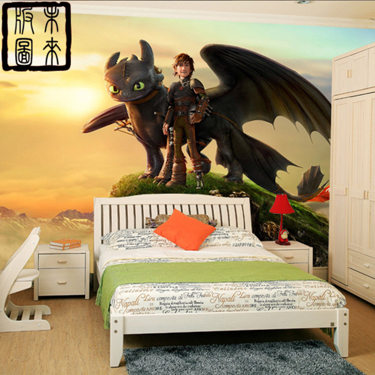 wie man drachenz hmen fototapete 3d cartoon tapete wandbild designer kunst jungen kinderzimmer. Black Bedroom Furniture Sets. Home Design Ideas