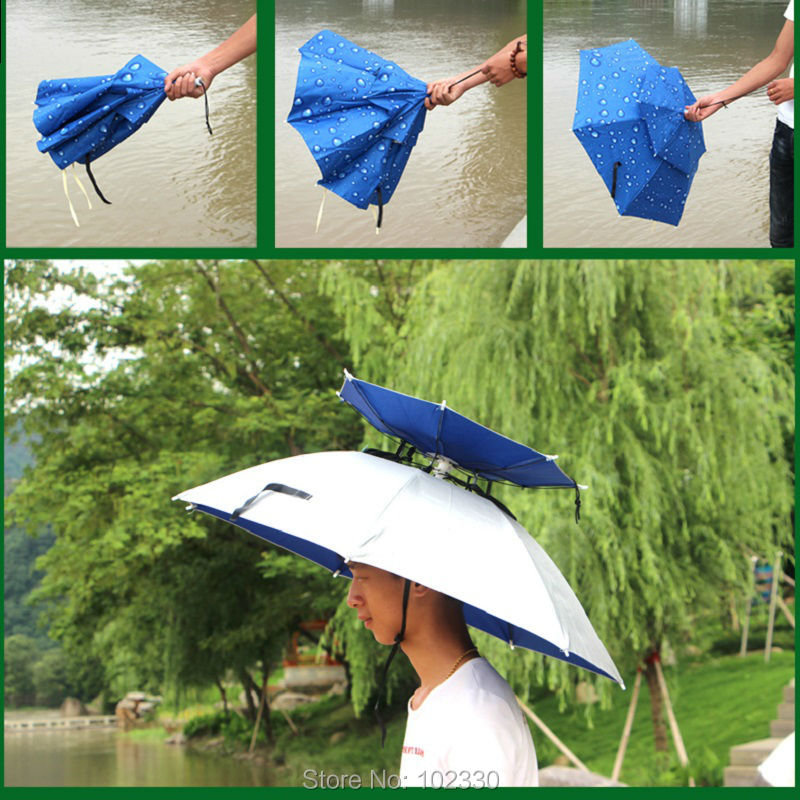 40pcs Wholesale 360 degree All round Umbrella hat double layer outdoor  anti-uv umbrella cap windproof for fishing ZA0523 - us542 0eab3a9333