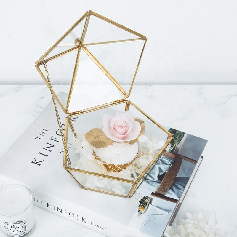 Rose Gold Glass Crystal Lọ Nhẫn Trang Sức Hộp Quà Tặng Đồng Trang Trí Kim Loại Kim Tự Tháp Đính Lưu Trữ Hộp Nhẫn Hình Học