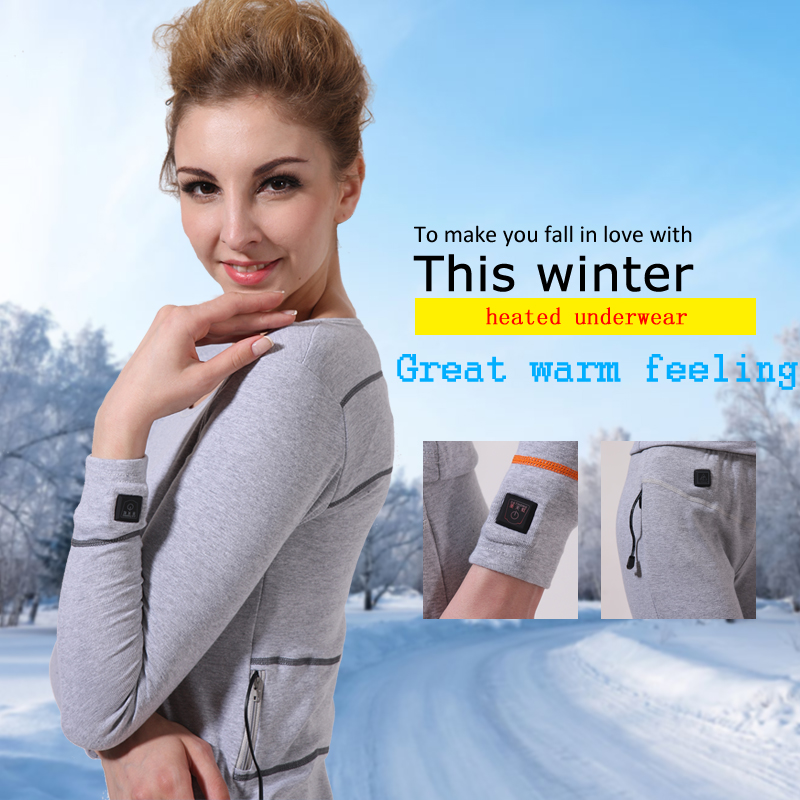 2019 Savior carbon fiber heating warm suit long adults Battery heated underwear