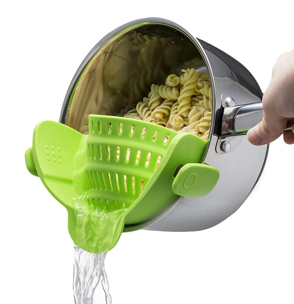 Amazon hot sale Fits all Pots and Bowls Dishwasher Safe Colander Silicone Clip On Strainers With 2 Clip