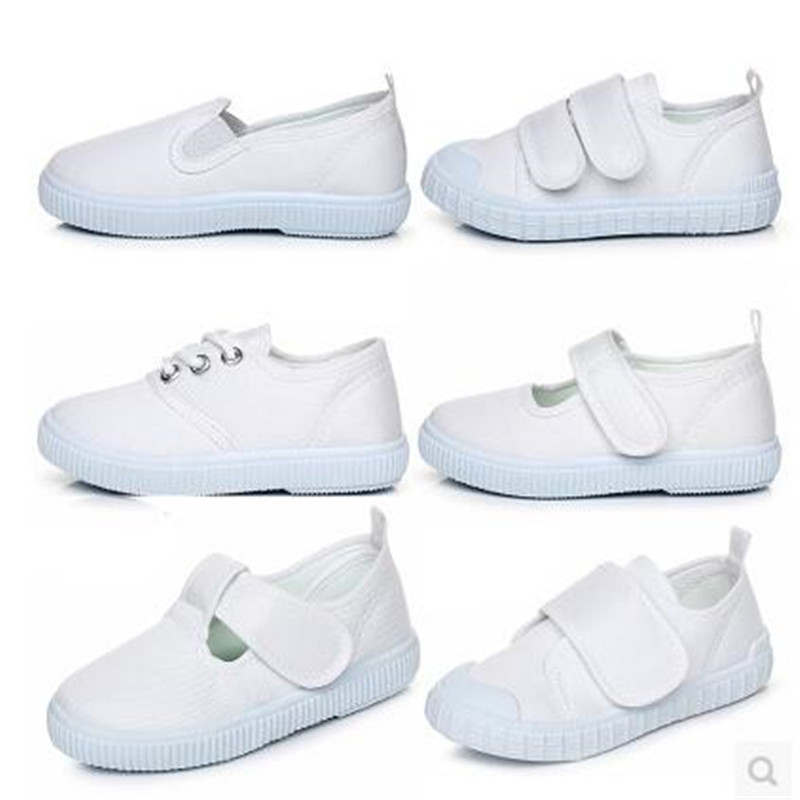 Child small white shoes white canvas primary school students shoes white shoes male female child dance