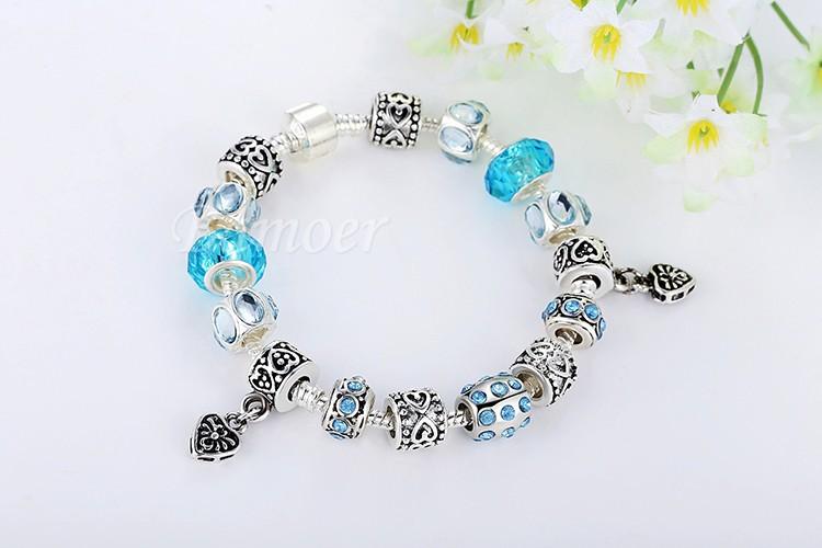 החדש הגעה בסגנון אירופאי 925 כסף קריסטל צמיד לנשים עם כחול זכוכית מוראנו (murano) חרוזים DIY תכשיטים PA1394