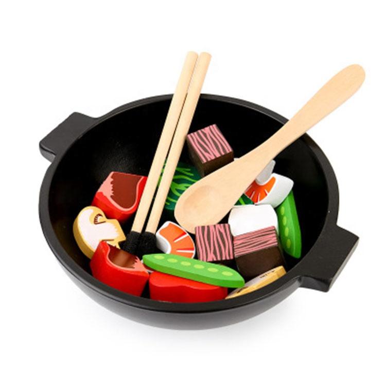 Kids Stir Fry Slicing Food Kitchen Toys Pretend Play Vegetable Wooden Cutting Toy Set