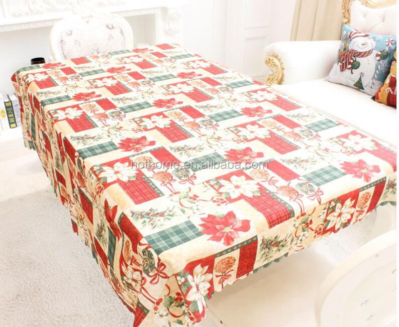 Акция, декоративная Рождественская скатерть из 100% полиэстера, скатерть для украшения дома