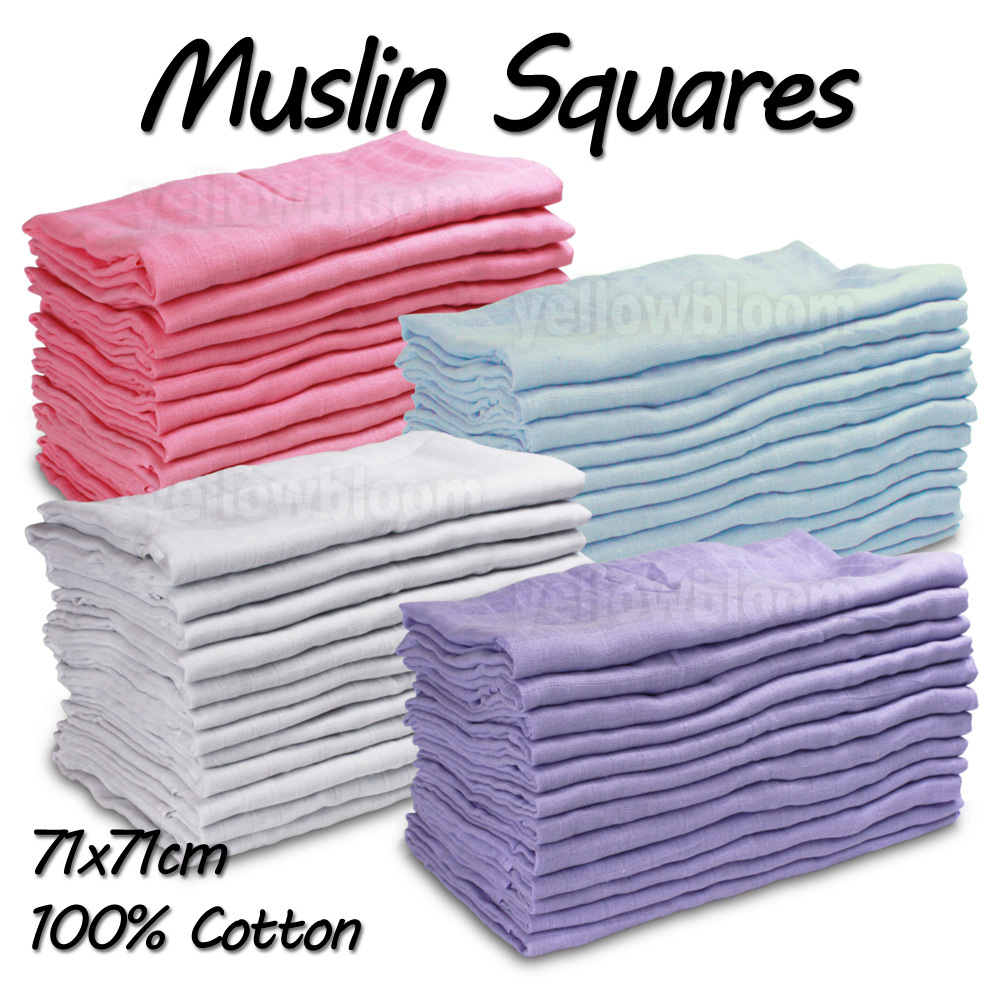 Baby Muslin Squares Cloth 100 Cotton Reusable Nappy Bibs