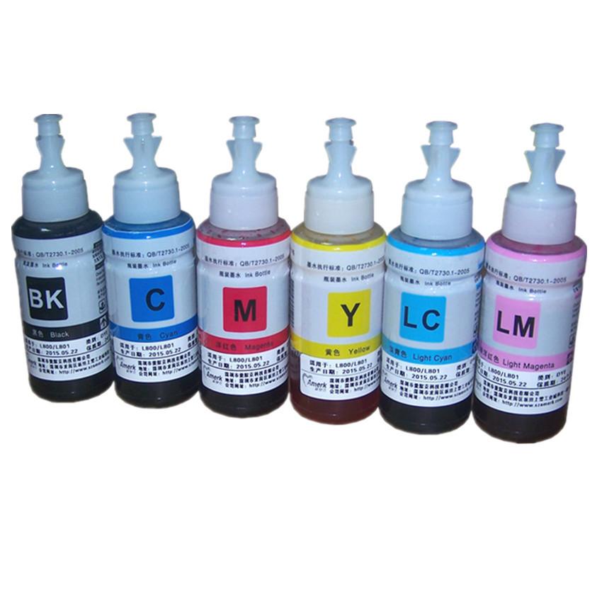 Чернила 6 цвета красителя номера OEM комплект из 6 дополнительный комплект чернил 70 мл для Epson L800 L801 печать картридж no. T6731 / 2 / 3 / 4 / 5 / 6