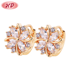 2018 Fashion Flower Shape Jewelry Fancy Design Gold Cz Earring