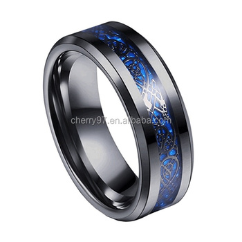 Men's 316L Stainless Steel Custom Fashion Blue Black Dragon Pattern Beveled Edges Celtic Rings Jewelry Wedding Band