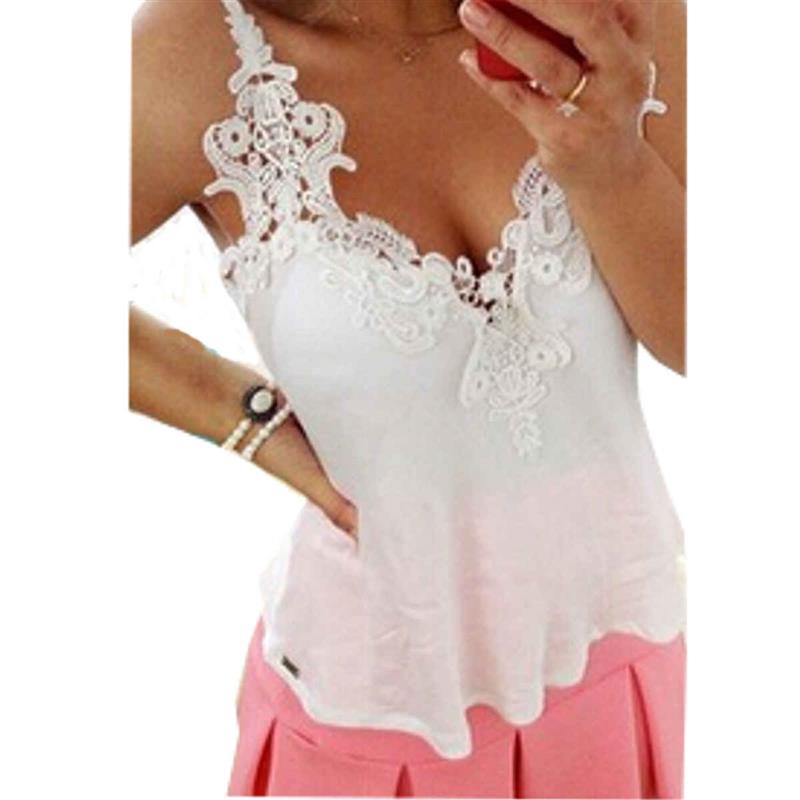 a012d29fbd5 2019 Wholesale Summer Tank Tops Women Ladies Lace Crochet Spaghetti ...