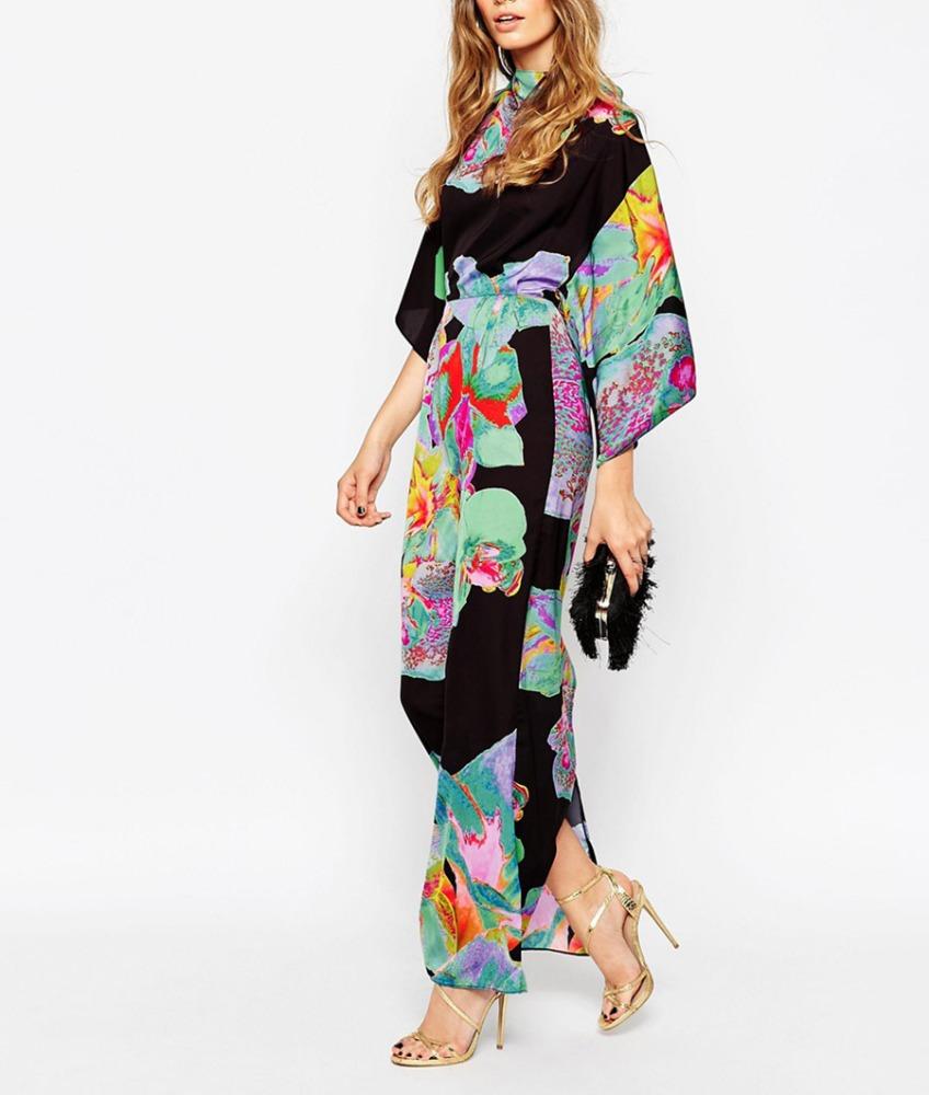 Лидер продаж, высококачественное платье-кафтан с цветочным принтом