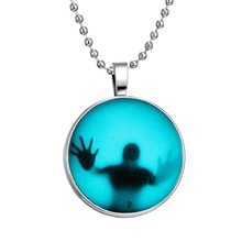 2015 Steampunk Fire Glow in the Dark necklaces Glowing Shadow Pendant Necklace Stainless Steel Chain necklace