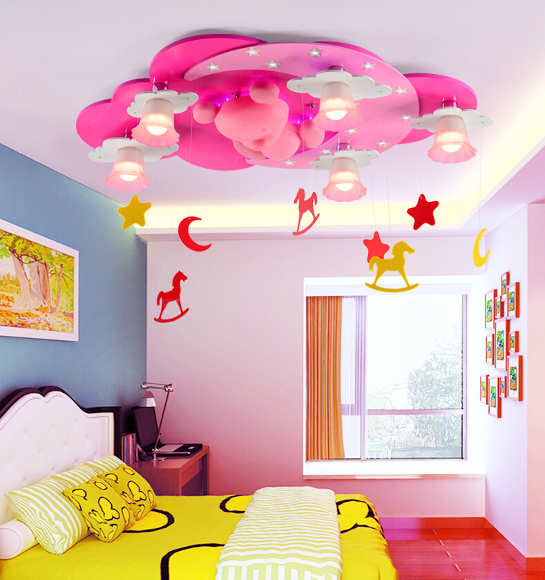 pink color kids Room Lighting boy cartoon warm girl ...