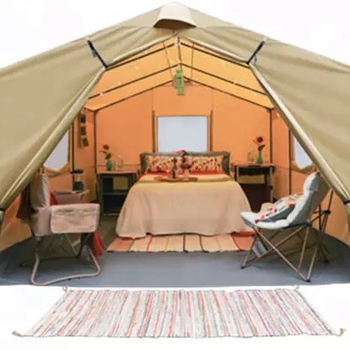 5+person outdoor safari glamping frame cotton canvas tent for family camping luxury tent