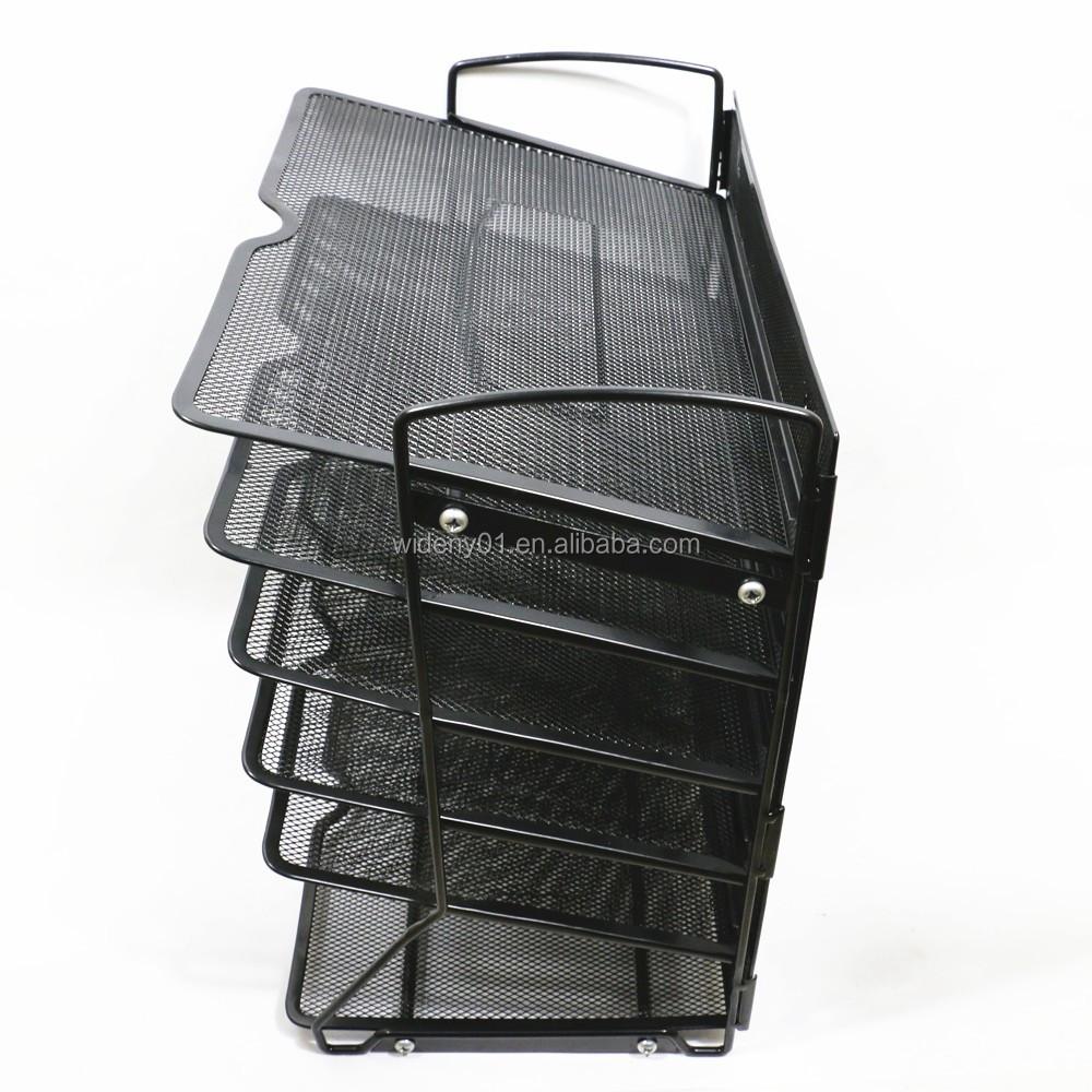 Офисные канцелярские принадлежности 5 уровней, черный настенный Настольный подвесной органайзер для документов из проволоки и металлической сетки, держатель для документов