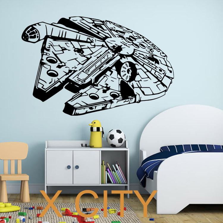 millenium falcon star wars vinyl wall art decal movie. Black Bedroom Furniture Sets. Home Design Ideas