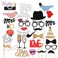 FENGRISE Fun Wedding Decoration Photo Booth Prop DIY Mr Mrs Mustache Mask Party Accessories Groom Bridal