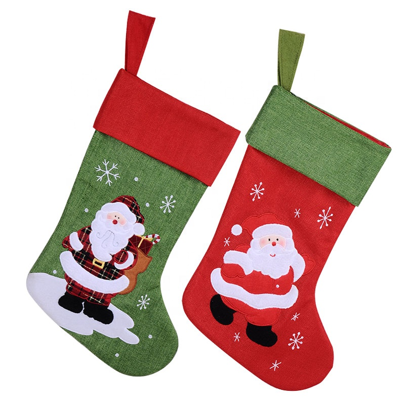 Personalized Here comes Santa Claus felt Christmas stocking