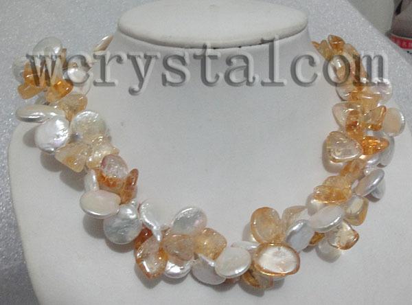 2 ряда(ов) естественно падение цитрин камень белый монета жемчужное ожерелье