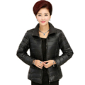 Woman Basic Puffer Jacket Black Blue Red Coat Middle Aged Womens Quilted Jackets Stand Collar Zipper