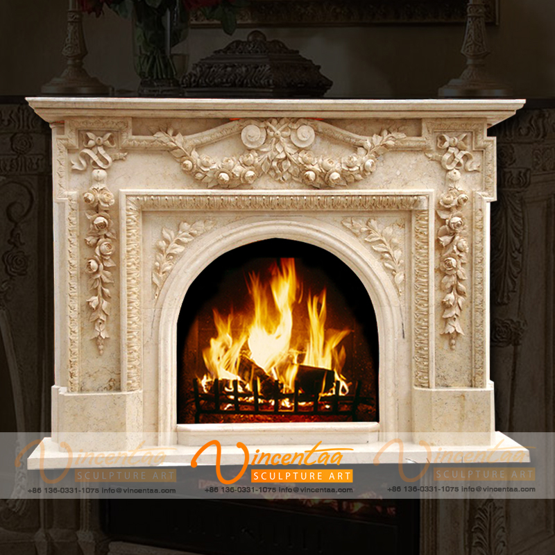 Vincentaa 2019 New Design Carved Luxury French Style Marble Fireplace Mantel