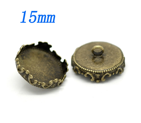 100pcs lot fit 15mm bronze crown round setting base with ring findings for glass cover