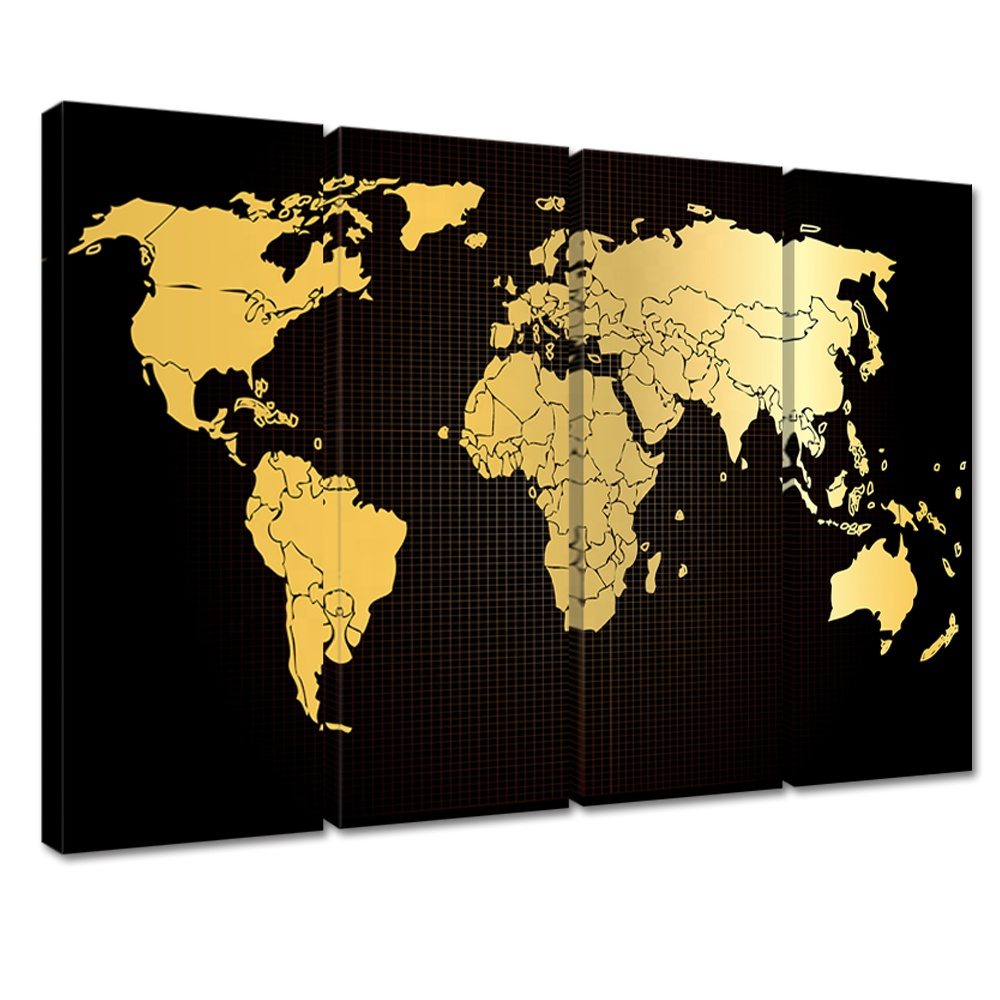 Large World Map Canvas Wall Art 4 Panel Black Gold Map Office Decor Antiquated Vintage Abstract World Map Giclee Prints View World Map Framed Artwork Visual Beauty Product Details From Xiamen Visual