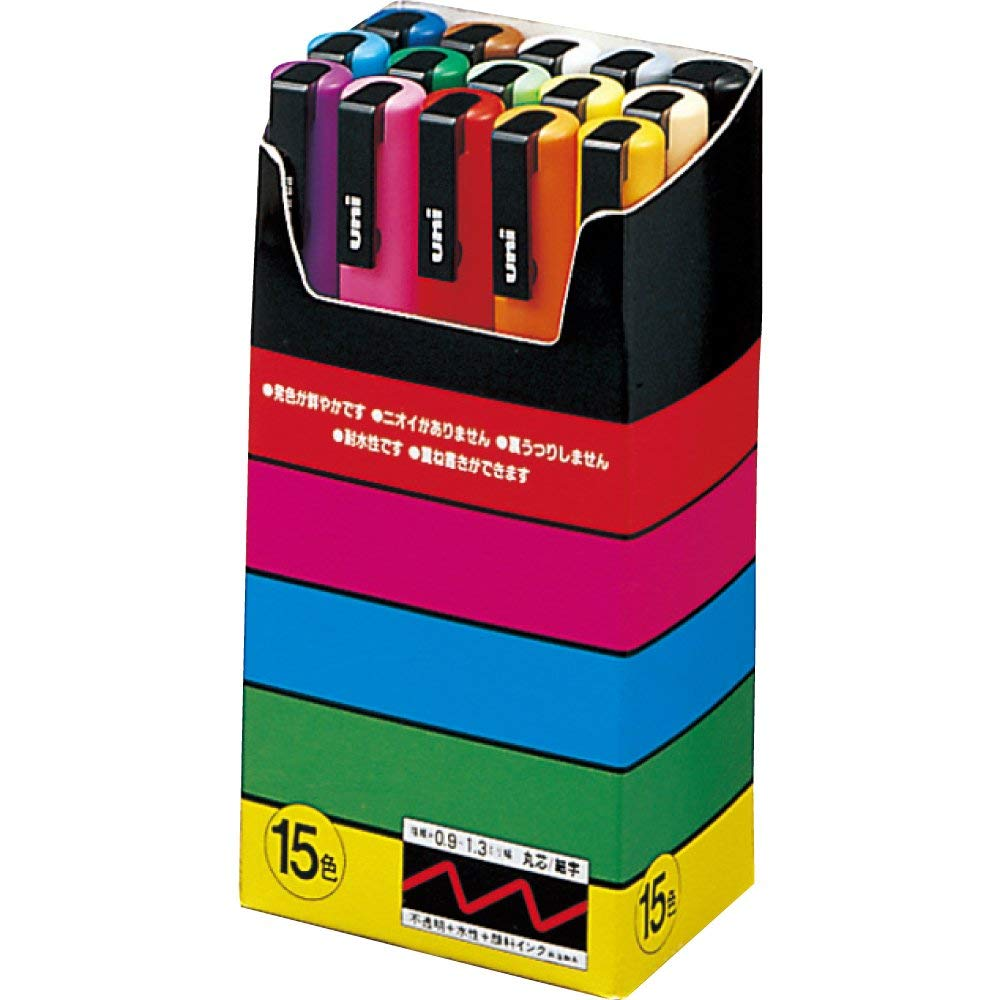 Uni Posca Paint Marker FULL RANGE Bundle Set, Mitsubishi ALL Natural & Gold & Silver Pen Fine Point 24 Color (PC-3M)