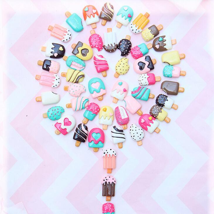 Модные большие подвески из смолы для мороженого, Смешанные Украшения, бусины для поделок «сделай сам» из слайма