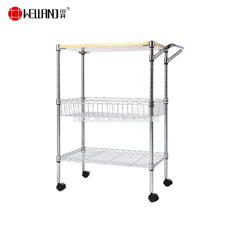 New Design 3 Tiers Chrome Metal Wire Rack With Wheel Kitchen Trolley Cart Buy Kitchen Cart Kitchen Trolley Metal Wire Rack Product On Alibaba Com