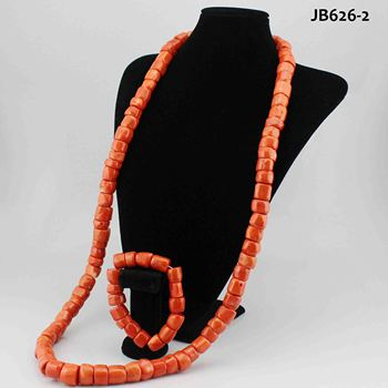 African Jewelry Sets coral Statement indian bridal necklace set gold plated fashion red and earring