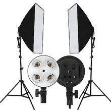 2016 New Photo Video Studio Sets 50x70cm E27 4in1 4xHead Socket With Light Stand Lamp Photography Softbox For Russian Federation