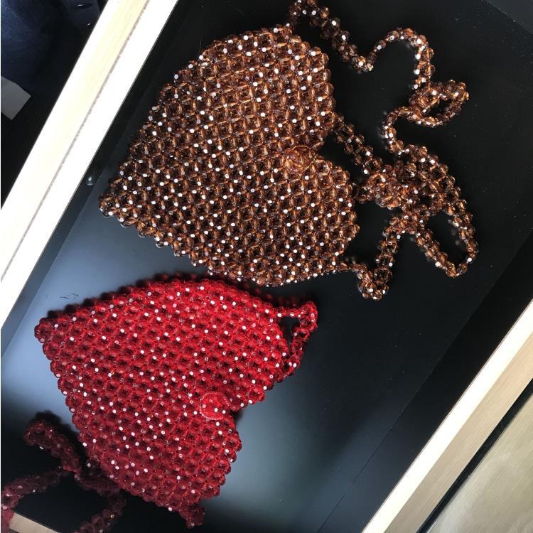 Hot sell fashion custom crystal dark brown/red beads beaded single shoulder heart shape bead bag