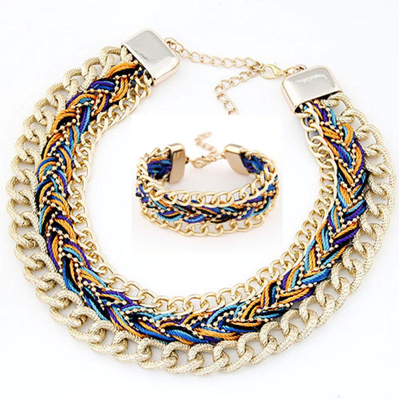 3bd8630fe00 2016 New bohême Style métal corde tressés parures déclaration collier Set  Bracelet femmes accessoires parure bijoux femme dans Bijoux Ensembles de  Bijoux et ...