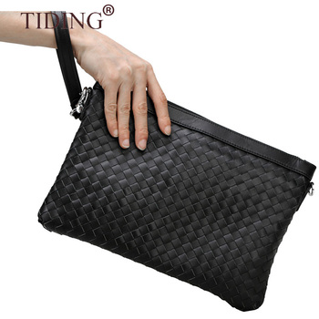 Factory Price Real Woven Leather Business Clutch Bag Genuine leather Black Wristlet Weave Man Clutch Bag