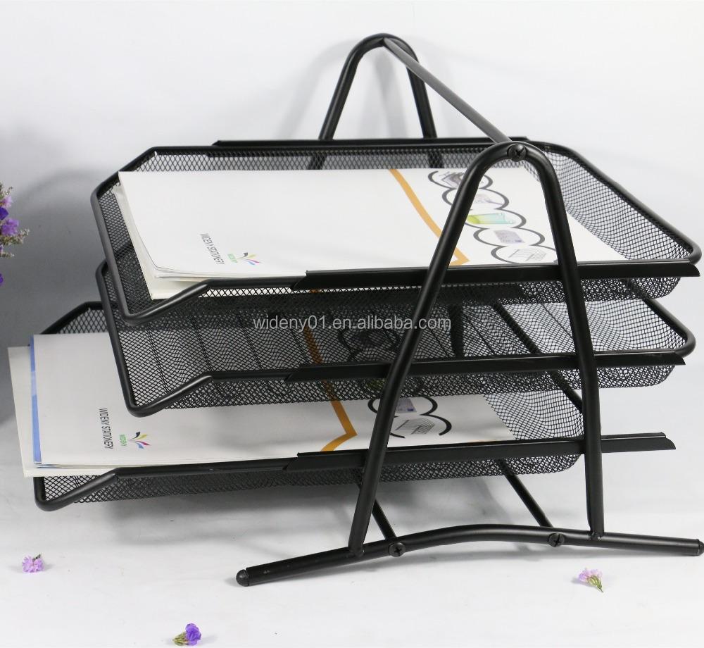 Wideny eco-friendly с порошковым покрытием канцелярских принадлежностей для канцелярских принадлежностей канцелярские стекируемые 3 слоя сетки из металлической проволоки лоток для документов