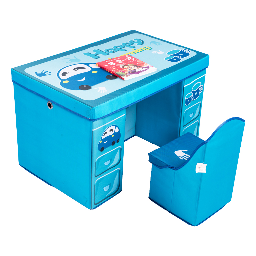 children funiture kids desk table fabric carbord chair with storage