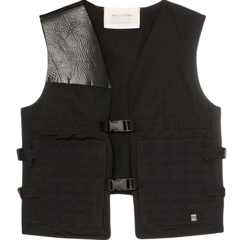 OEM Men Fashion Custom Outdoor Workshop Casual Multi Pockets faux leather panel sleeveless vest