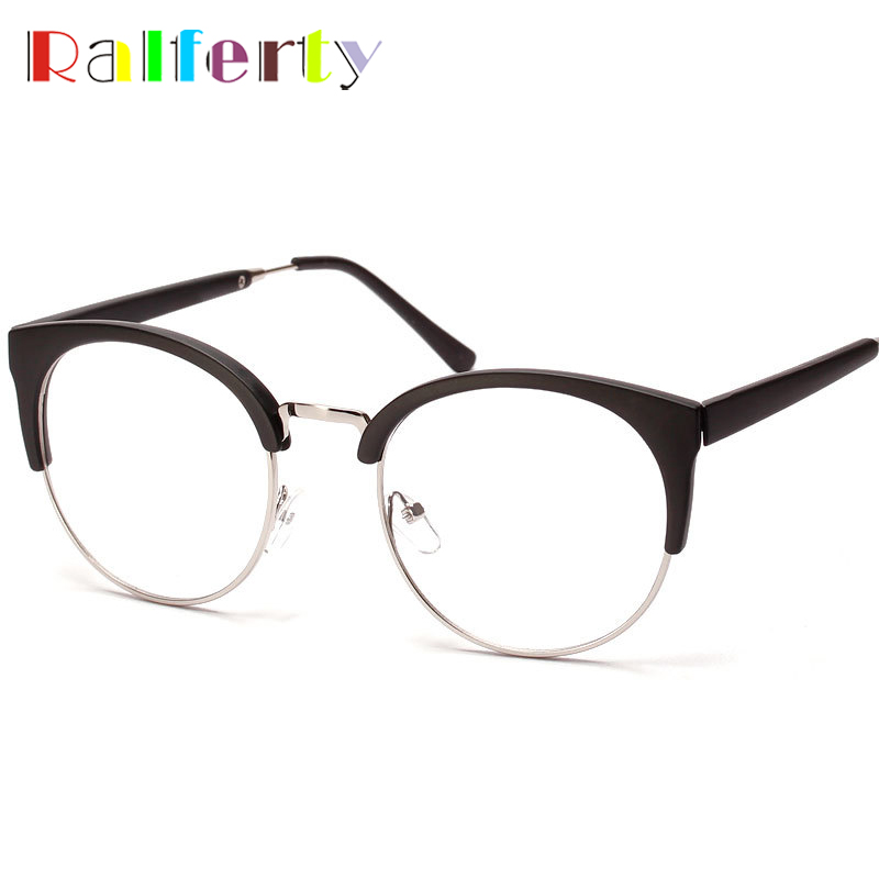 Korea Round Semi Rimless Eyeglasses For Unisex Vintage
