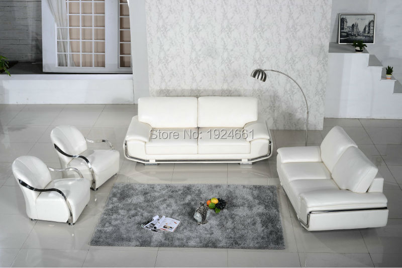 US $2500.0 |2019 New Armchair European Style Set No Sofas For Living Room  Bean Bag Chair Real Leather Modern Design Steel Frame White Sofa-in Living  ...