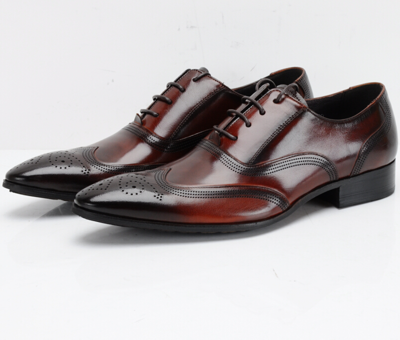 Fake Leather Plain Brown Shoes