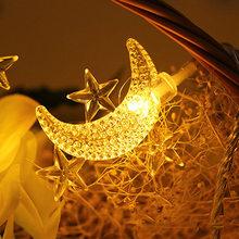 3 м/1 м LED звезда и луна струнный светильник s Сказочный светильник s Рождественская гирлянда свадебное украшение светильник s батарея работае...(Китай)