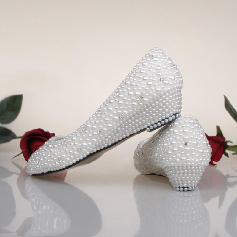 Comfortable Low Heel Wedding Shoes: Bridesmaid Shoes White Ivory Pearl Wedding Shoes Fashion