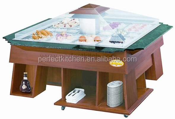 Luxury Wooden Salad Bar Counter Salad Fridge Display
